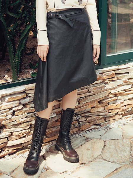 Black Casual Asymmetrical Solid Midi Skirt