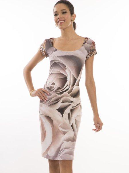 Apricot Beaded Floral-print Elegant Midi Dress
