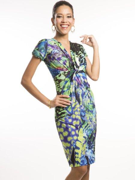 Green Gathered Printed Short Sleeve Midi Dress