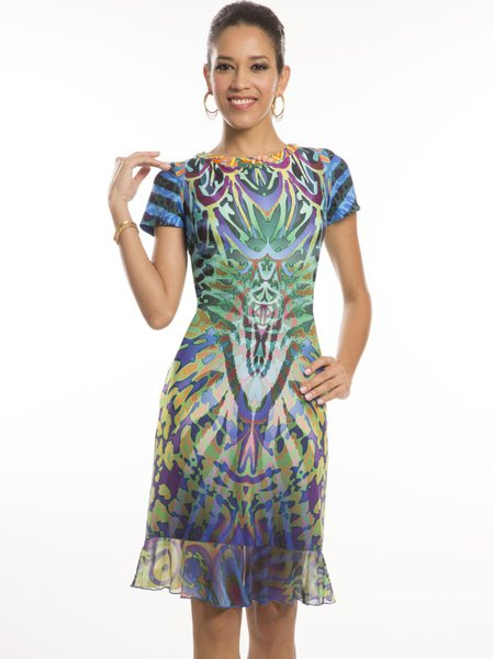Multicolor Short Sleeve Beaded Flounce Midi Dress