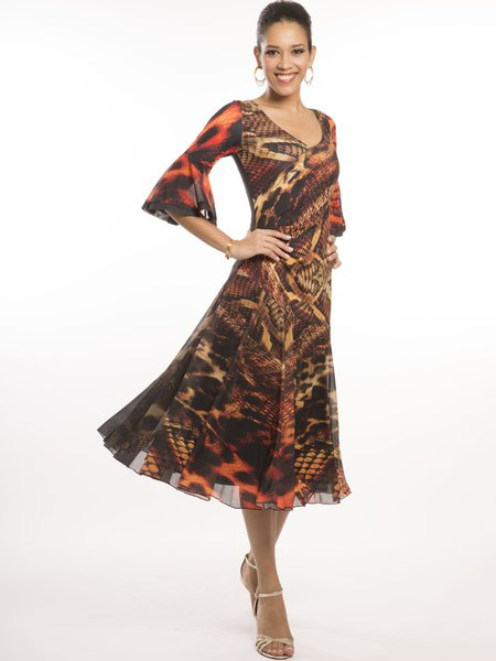 Brown Frill Sleeve Printed Swing Midi Dress