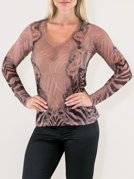Nude Floral Zebra-print V Neck Long Sleeved Top