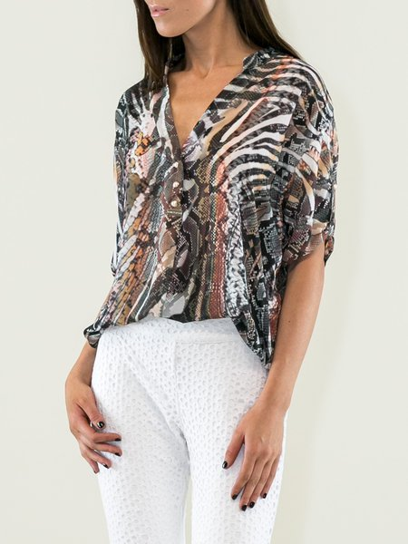 V Neck Half Sleeve Casual Animal Print Blouse