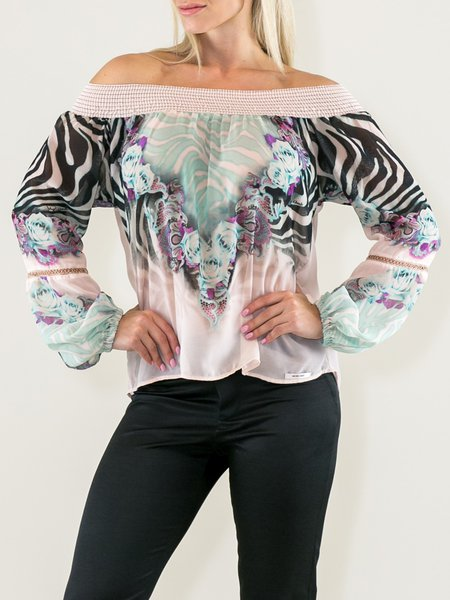 Apricot  Zebra-print Off Shoulder Long Sleeve Blouse