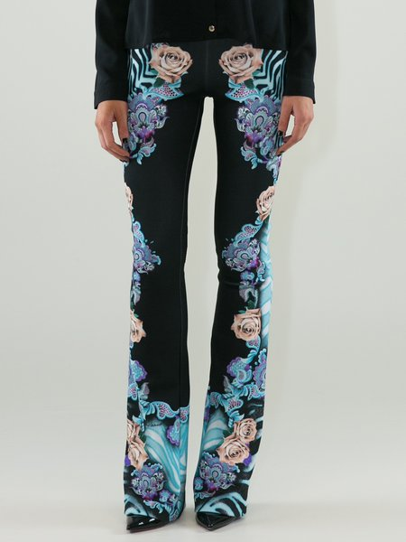 Black Statement Floral-print Flared Pants
