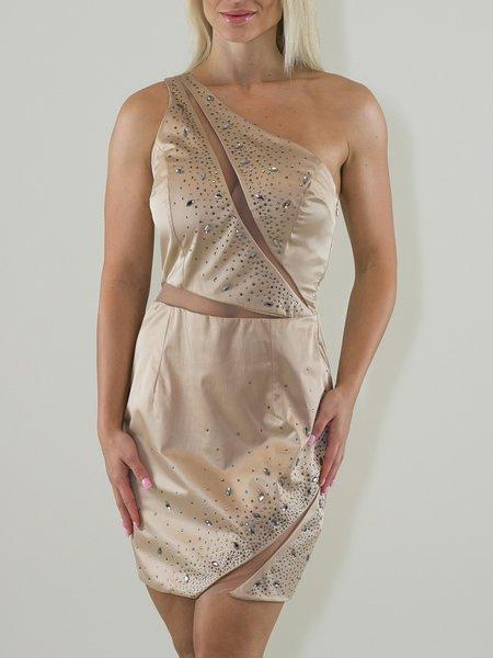 Golden Sheath One Shoulder Beaded Sexy Mini Dress