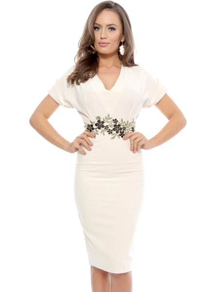 Ivory Floral Embroidered Elegant V Neck Midi Dress