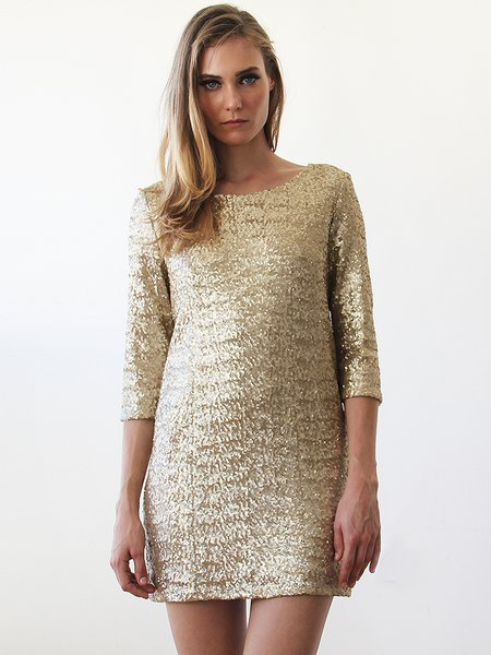 Golden Backless Sequins Sparkling 3/4 Sleeve Mini Dress