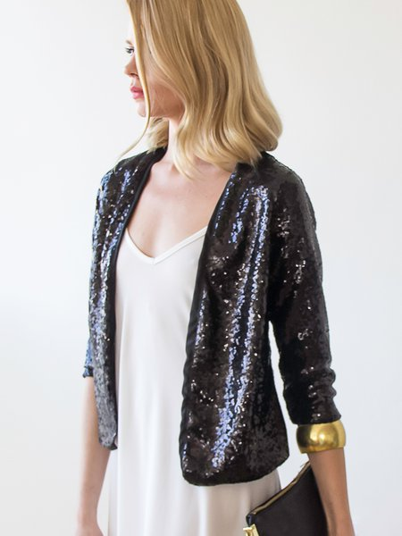 Black Sequins Sparkling 3/4 Sleeve Cropped Jacket