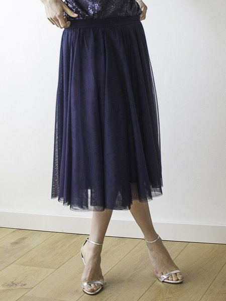 Navy Blue Casual Swing Folds Tulle Midi Skirt