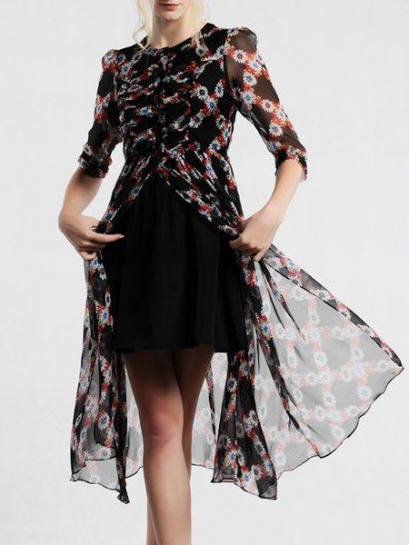 Black A-line Chiffon Vintage Floral Print Midi Dress