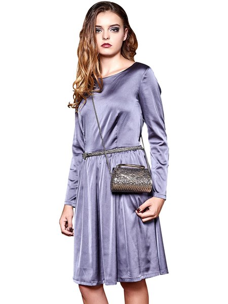 Gray Long Sleeve A-line Elegant Midi Dress