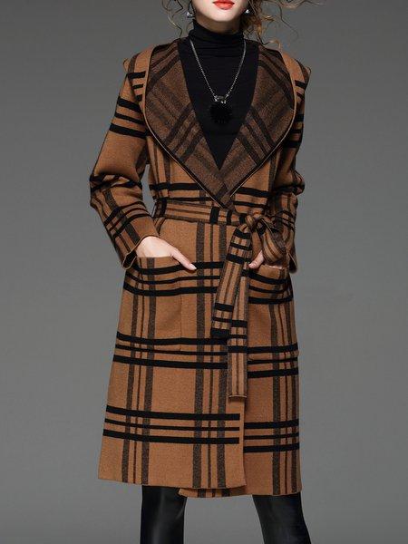 Plaid Pockets Long Sleeve Hoodie Wool Blend Coat with Belt