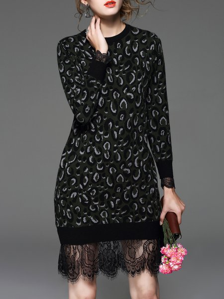Paneled Leopard Long Sleeve H-line Casual Sweater Dress