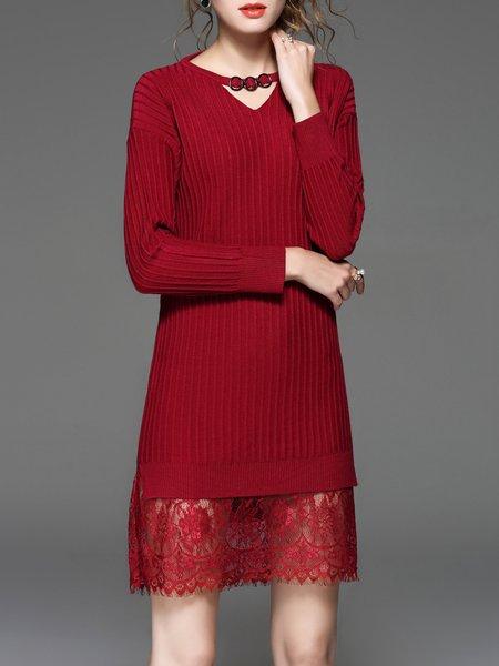Keyhole Plain Long Sleeve Paneled H-line Sweater Dress