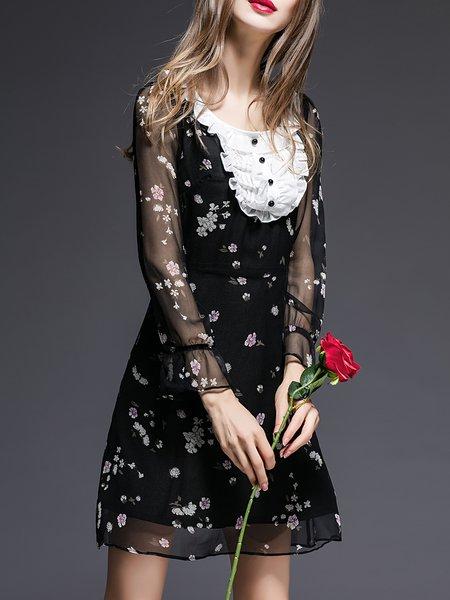 Black Girly Silk Floral Crew Neck Mini Dress
