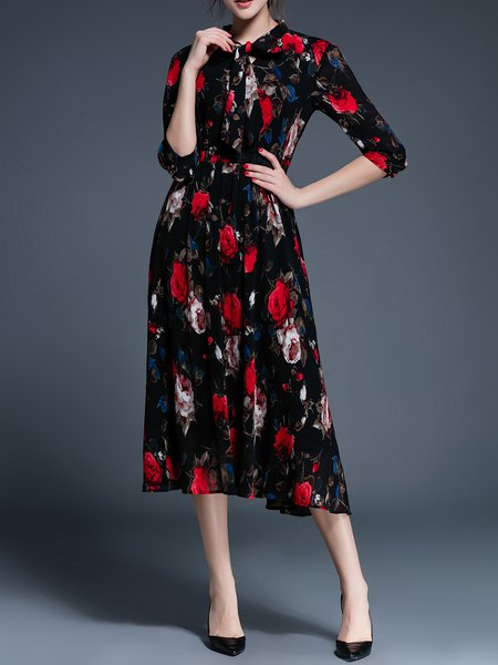 Floral-print Stand Collar 3/4 Sleeve Swing Midi Dress