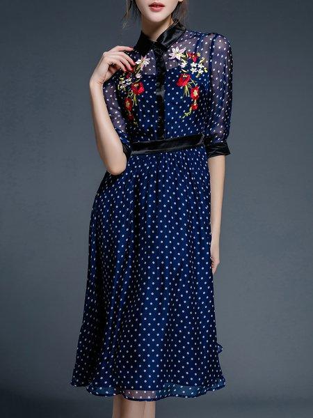 Embroidered Shirt Collar Silk Half Sleeve Midi Dress