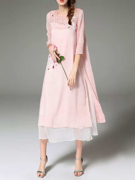 Embroidered Polyandrum A-line 3/4 Sleeve Midi Dress