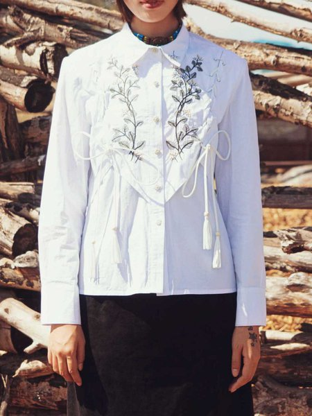 White Long Sleeve Casual Embroidered Blouse