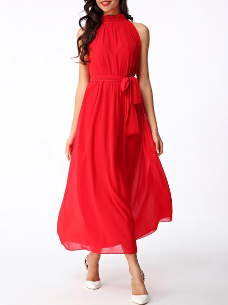 Plain Boho Ruffled Sleeveless Midi Dress with Belt