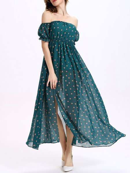 Green Off Shoulder Polka Dots Boho Maxi Dress