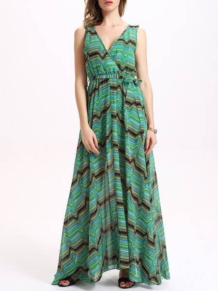 Green Geometric Slit V Neck Maxi Dress