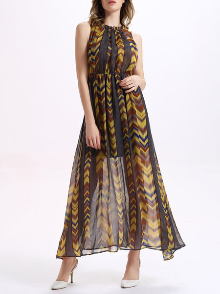 Halter Sleeveless Printed Chiffon Maxi Dress