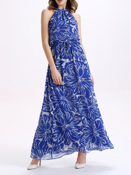 Blue Sleeveless Printed A-line Boho Maxi Dress