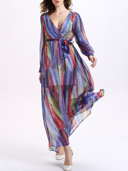 Ombre/Tie-Dye Boho Plunging Neck Maxi Dress with Belt