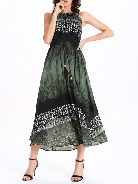 Dark Green Abstract Ruffled A-line Boho Midi Dress