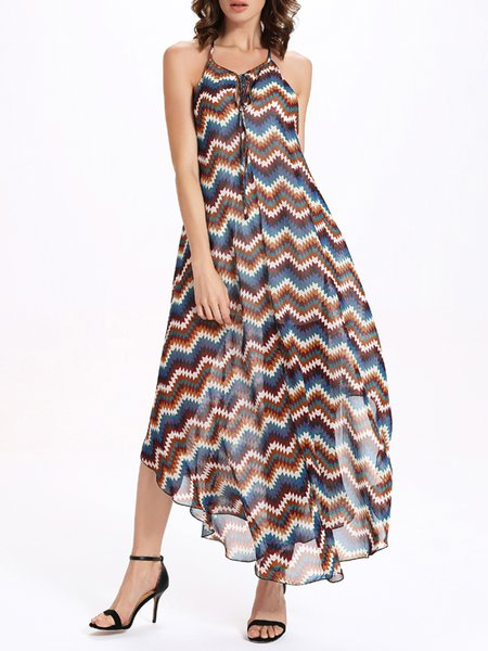 Printed Racerback Halter Swing Spaghetti Maxi Dress