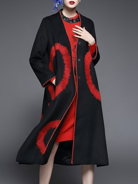 Black Long Sleeve Geometric Binding Coat