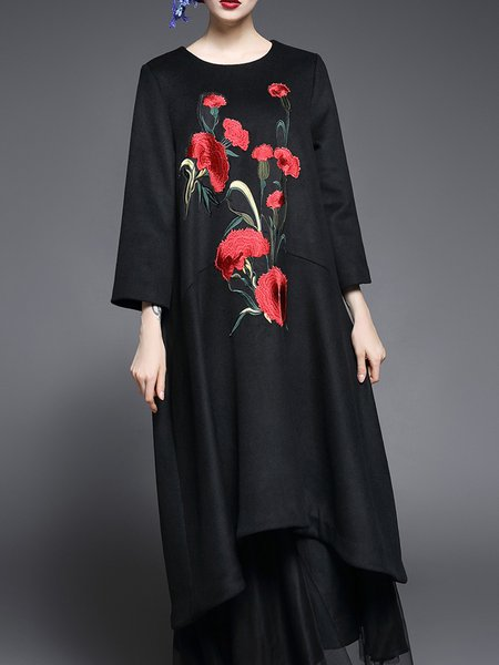 Asymmetrical Long Sleeve Floral Vintage Midi Dress