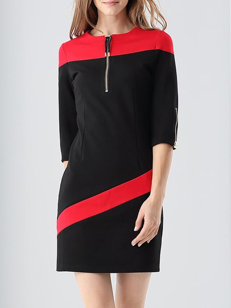 Black Color-block Elegant Crew Neck Sheath Mini Dress