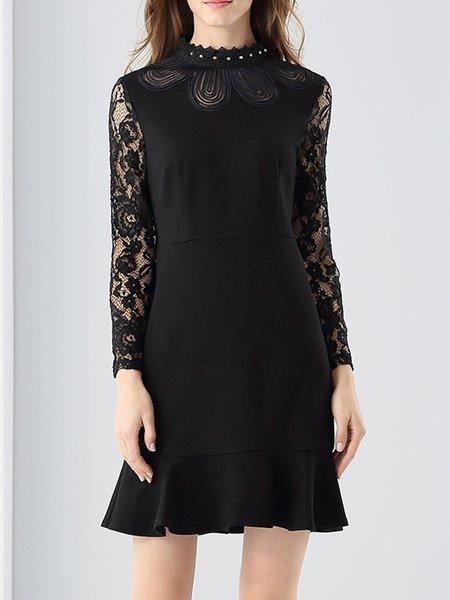 Elegant Floral Guipure Lace Flounce Mini Dress