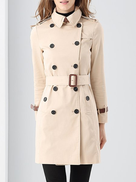 Shirt Collar Buttoned Solid Elegant Long Sleeve Trench Coat