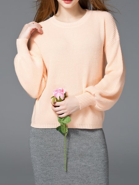 Crew Neck Knitted Knitted Balloon Sleeve Sweater