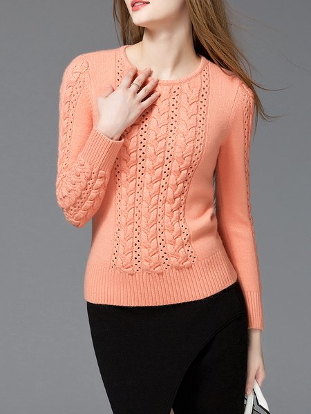 Orange Knitted Simple Solid Sweater