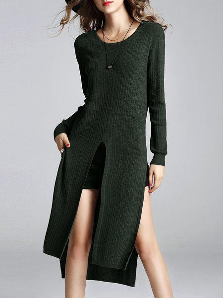 Slit Knitted Long Sleeve Statement Sweater