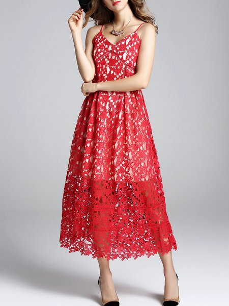 Red Zipper Elegant Spaghetti Lace Midi Dress