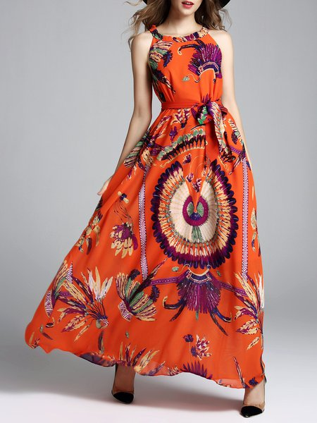 Orange Swing Vintage Animal Print Maxi Dress with Belt