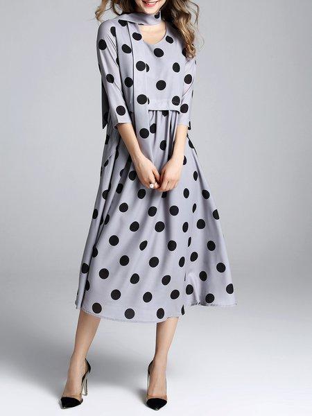 Polka Dots A-line 3/4 Sleeve Midi Dress with Belt