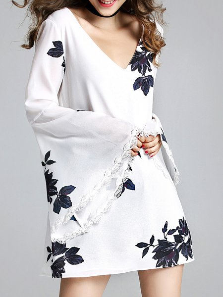 White Cutout Printed Bell Sleeve Mini Dress