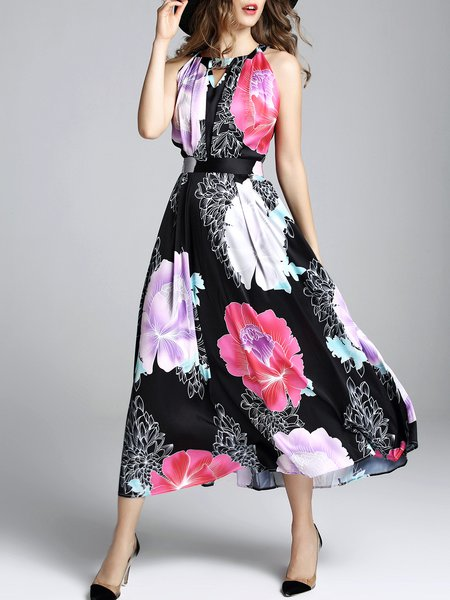 Black Floral-print Swing Vintage Midi Dress