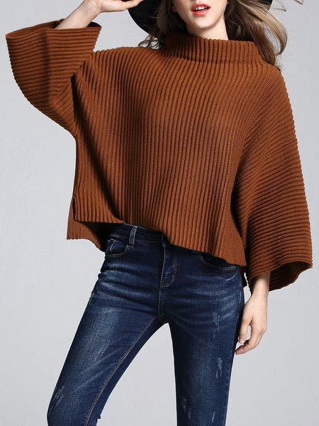 Solid Knitted Simple Stand Collar Sweater