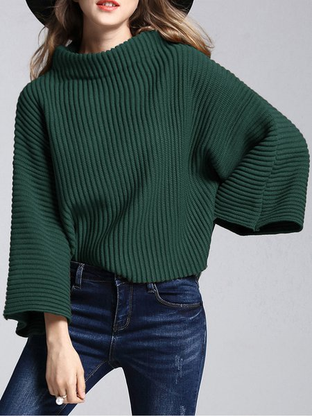 Stand Collar Long Sleeve Simple Sweater