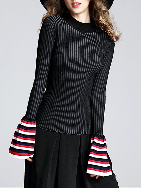 Black Paneled Bell Sleeve Stripes Sweater