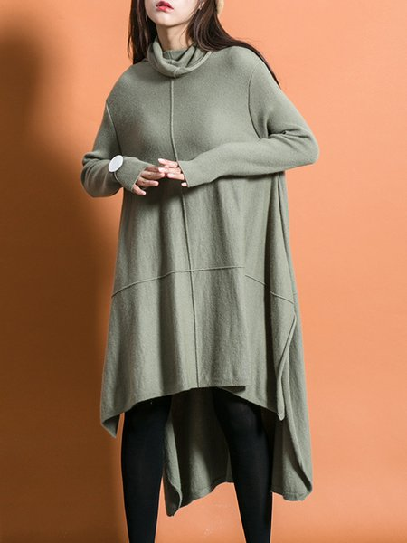 Simple Long Sleeve Angora-blend Asymmetrical Midi Dress