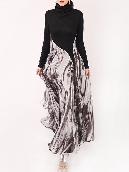 Long Sleeve Casual Knitted Paneled Abstract Cowl Neck Maxi Dress